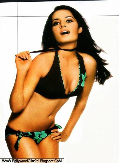 Celina Jaitly posing and showing hot navel
