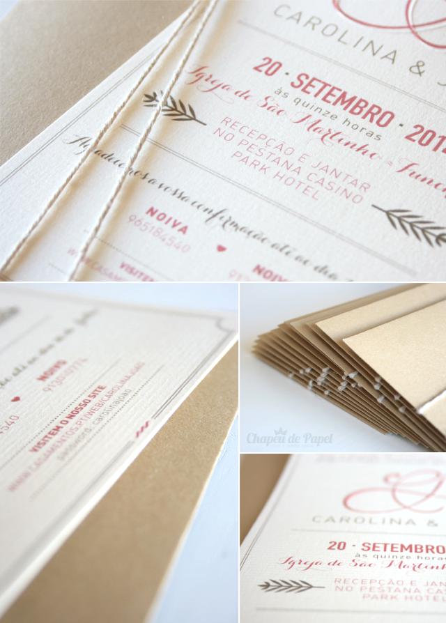 Convites de Casamento www.chapeudepapel.com