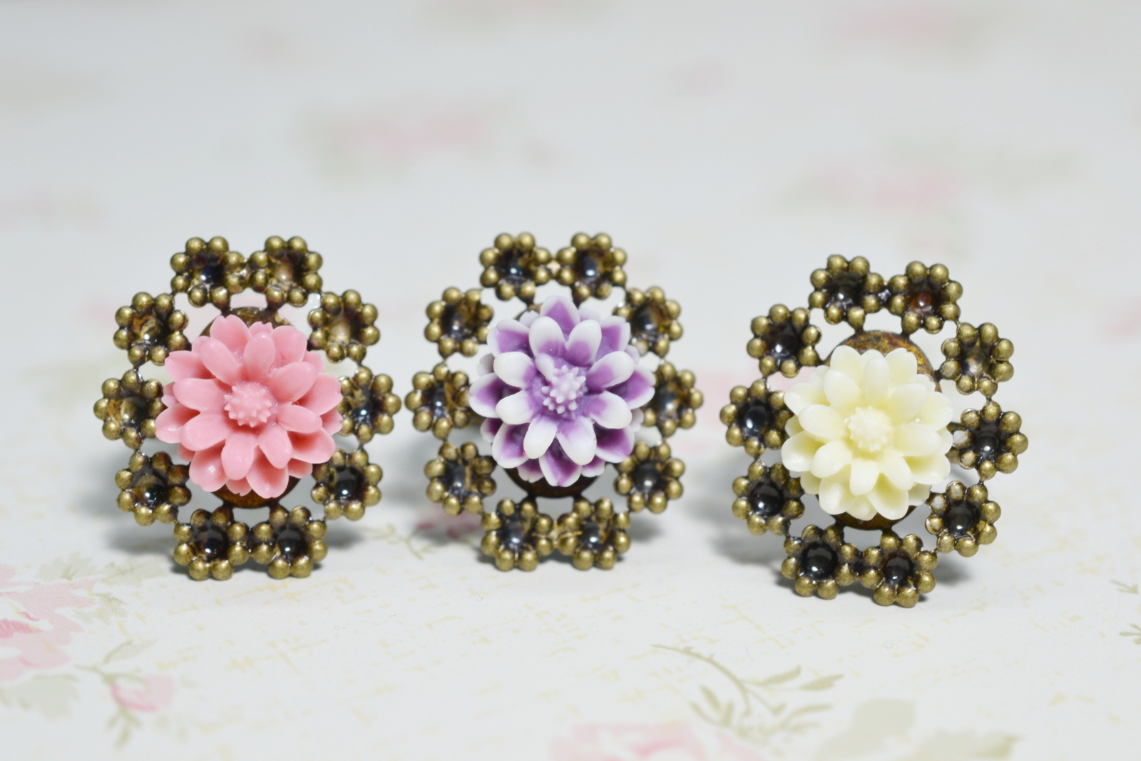 KimFong Flower Ring Daisy Ring Purple Coral Pink Ivory Cream Flower Ring Fi
