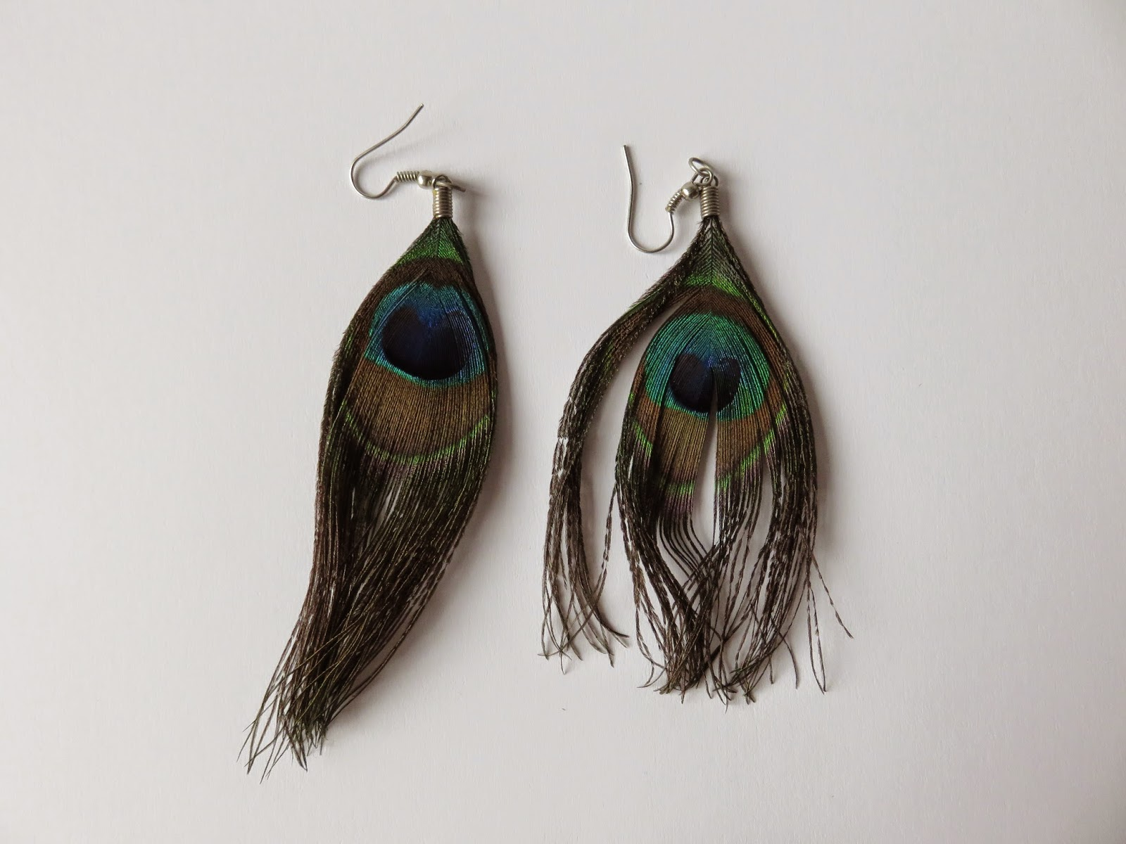 peacock feather earrings pauwenveren oorbellen