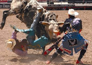 Rodeo bull riding and rodeo clown