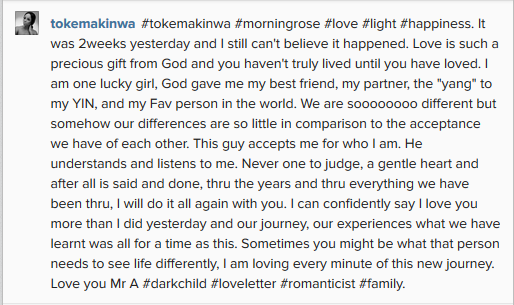 Toke Makinwa Re-Assures Husband Of Her Love