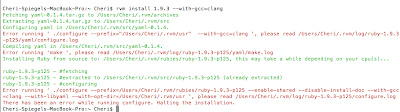 Screencap of rvm install 1.9.3 --with-gcc=clang that ends in a make error that calls for installation halt.