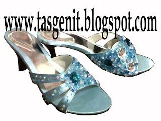 sandal pesta wanita biru sendal kebaya big size
