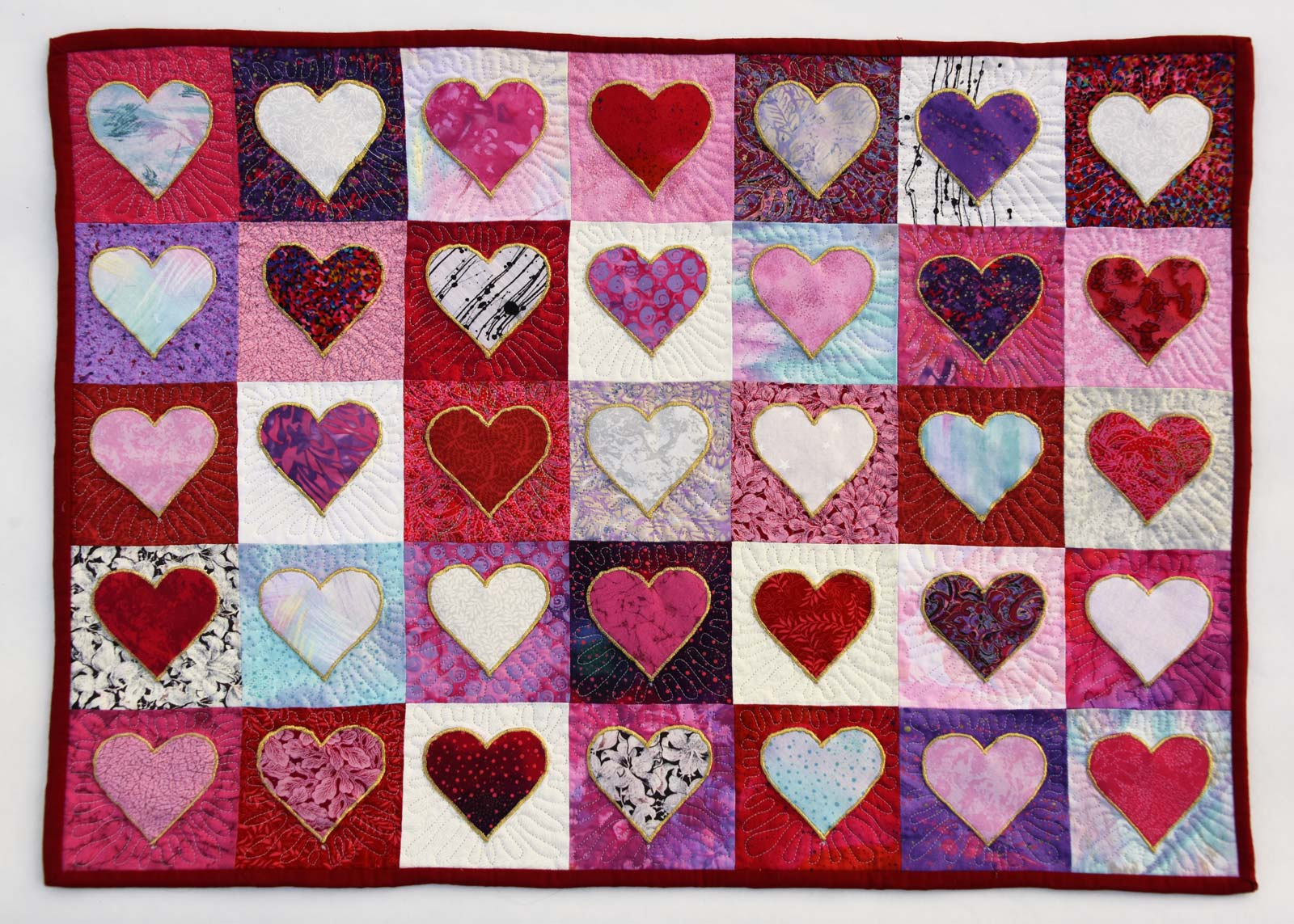 Click below for my FINISHED Heart Quilt