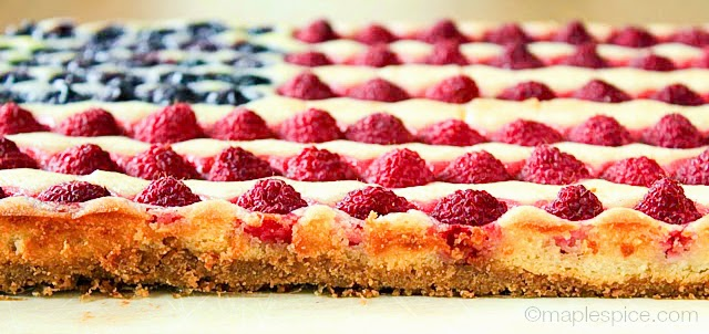 Vegan American Flag Berry Tart with Almond Cheesecake