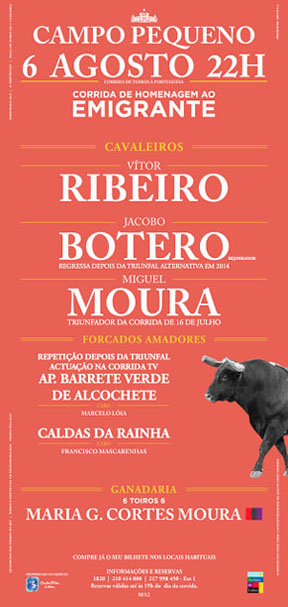 CAMPO PEQUENO (LISBOA) 06-08-2015.CORRIDA A PORTUGUESA