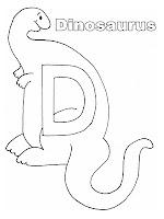 Mewarnai Huruf Alfabet D Untuk Dinosaurus