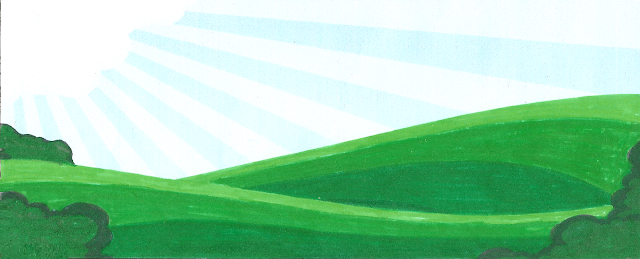 Blue rayed, striped sky with 3 green waves of land, easy to paint kids room wall