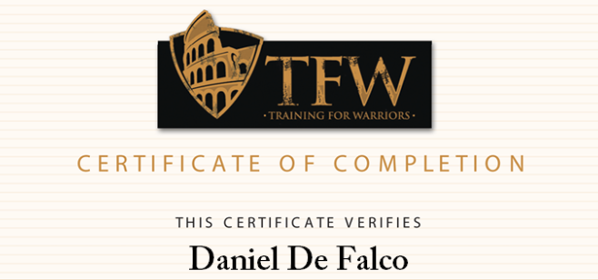 Training For Warriors Level 1 Certified