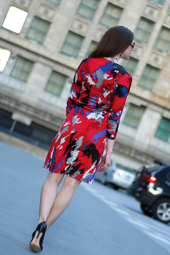 Red, Pink, Blue, Black, Gray, Periwinkle Printed Dress | StyleSidebar