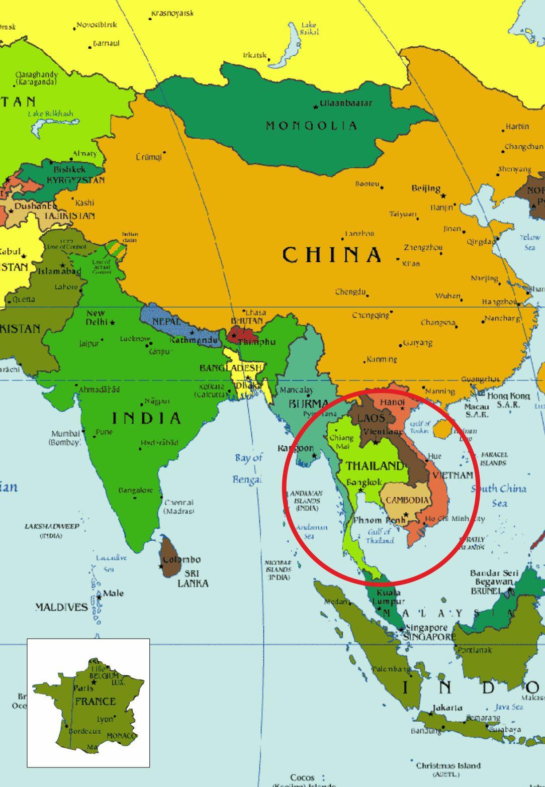 Tour du Monde des Glücks Julien et Thierry: Carte Thaïlande