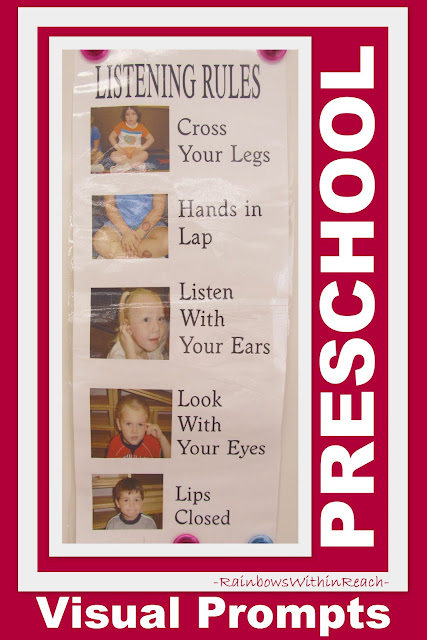 Visual Set of Listening Rules for Preschool Circle Time at RainbowsWithinReach