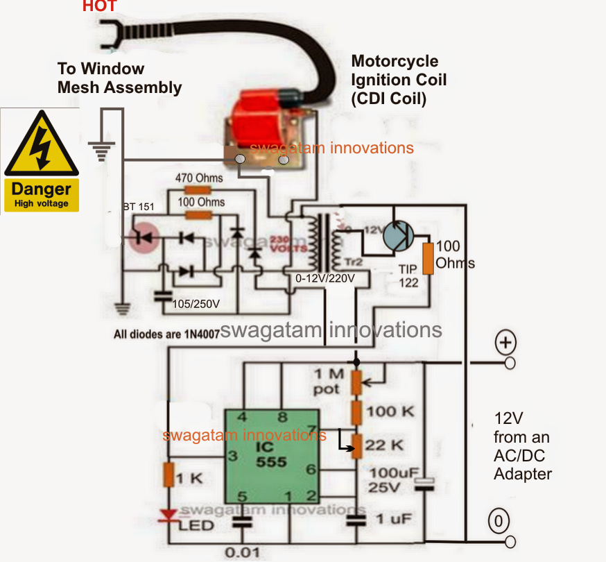 homemade mosquito killer circuit electronic circuit projects the system and once this is completed making the high voltage mosquito killer circuit can be rather simply done the help of the following circuit