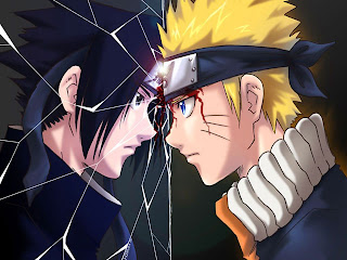 Naruto Sasuke Reflection Broken Mirror Bloody