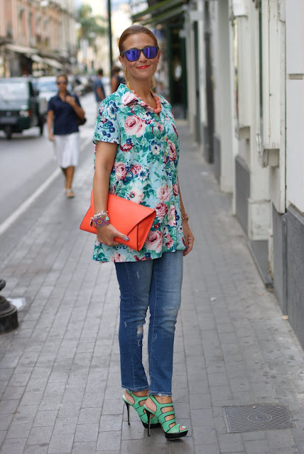 Kenzo stampa fiori, Kenzo shirt, Zara orange clutch, Fashion and Cookies, fashion blog
