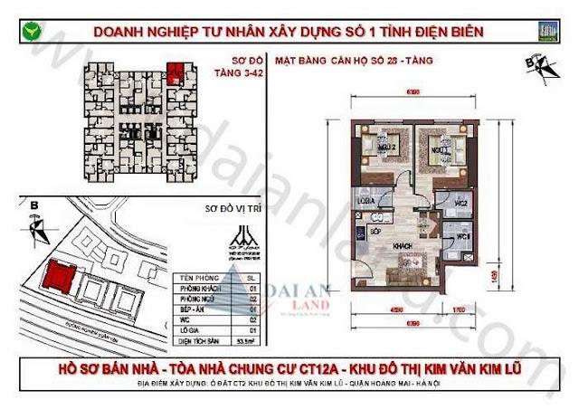 Căn 28 - Tòa CT12A Chung Cư Kim Văn Kim Lũ