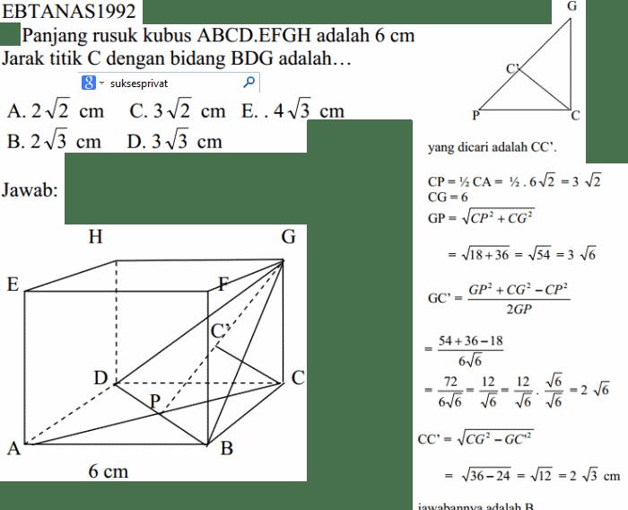 Matematika Cara Menghitung Jarak Titik Ke Bidang Pada Kubus Dimensi Tiga