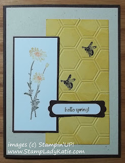 Card made with images from Stampin'UP!'s Springtime Hello Stamp set and honeycomb Embossing Folder