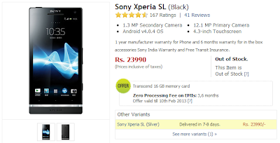 Sony Xperia SL Price Drops via Flipkart