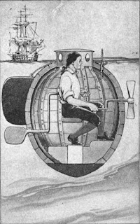 """A cutaway image of the inner workings, with a burning ship in the background. The needle-like object at the top right of both pictures is the """"torpedo-attaching screw"""", used in The Tide Watchers"""