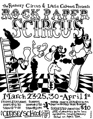 Runaway Circus, circus poster, monkeys, apes, Blair Menace, chess, games, Rock Paper Scircus