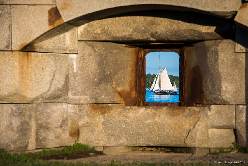July 2015 South Portland, Maine USA at Fort Preble near Spring Point photo of sailboat through window by Corey Templeton.