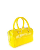 Marquez Quilted Enamel Bowler Bag In Yellow