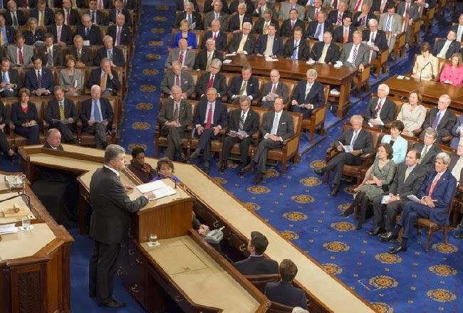 Президент Порошенко выступил на совместном заседании Конгресса и Сената США и встретился с президентом Обамой