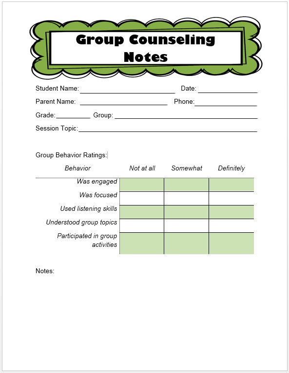 Counseling Notes Template. easy client progress note template tip ...