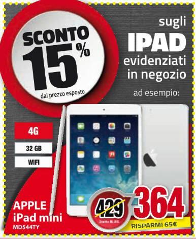 Comet nel suo volantino pre scuola sconta gli Apple iPad del 15%