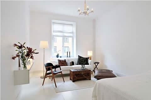 Белый интерьер однокомнатной квартиры, 33 кв.м.: http://vash-dom.mirtesen.ru/blog/43197807679/next