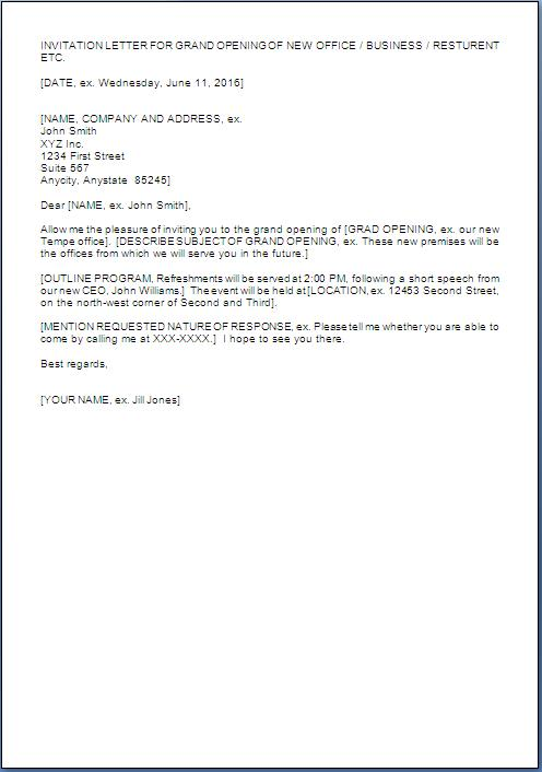 Invitation Letter for Grand Opening of Business
