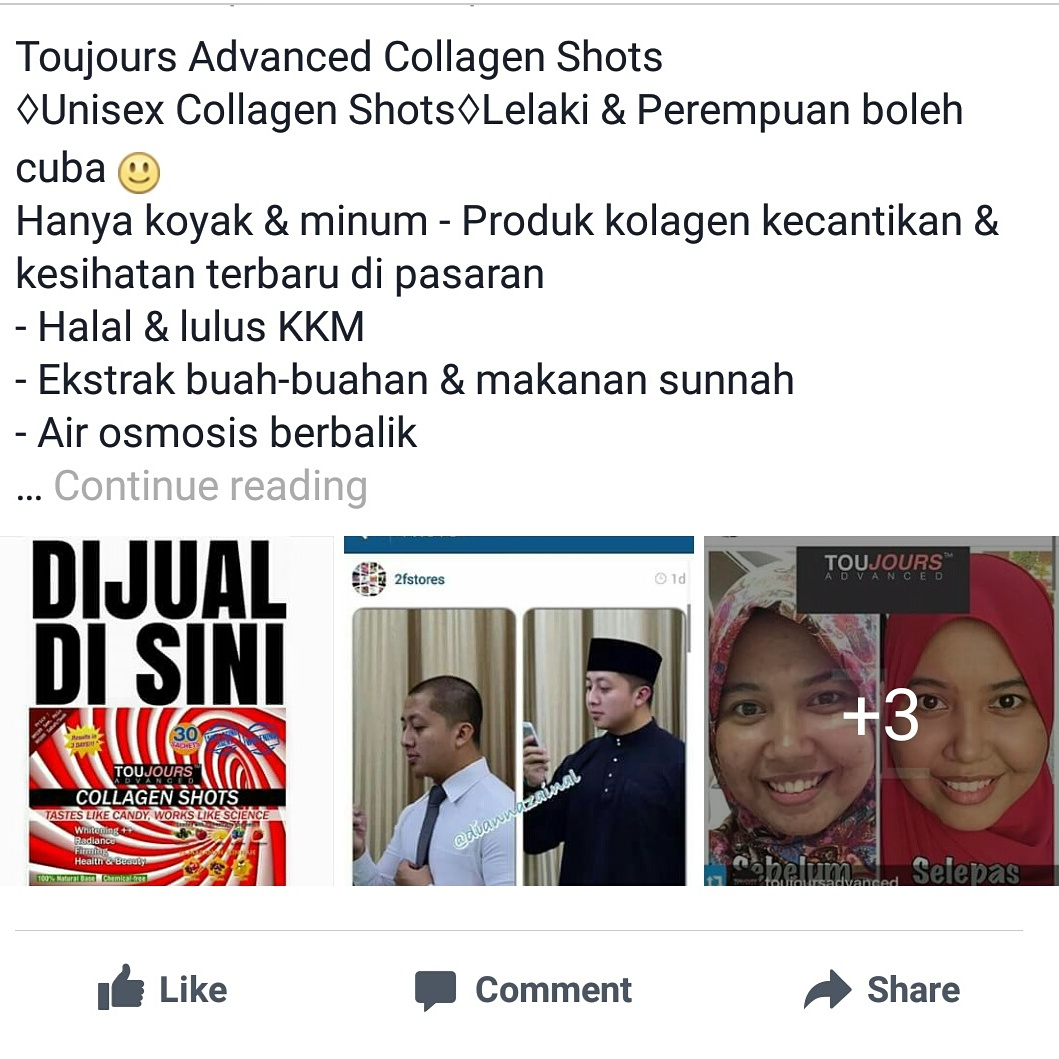 TOUJOURS COLLAGEN SHOTS HARGA PROMOSI 013-3045279