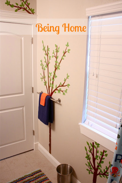 Boys Bathroom Makeover - After (tree decals)