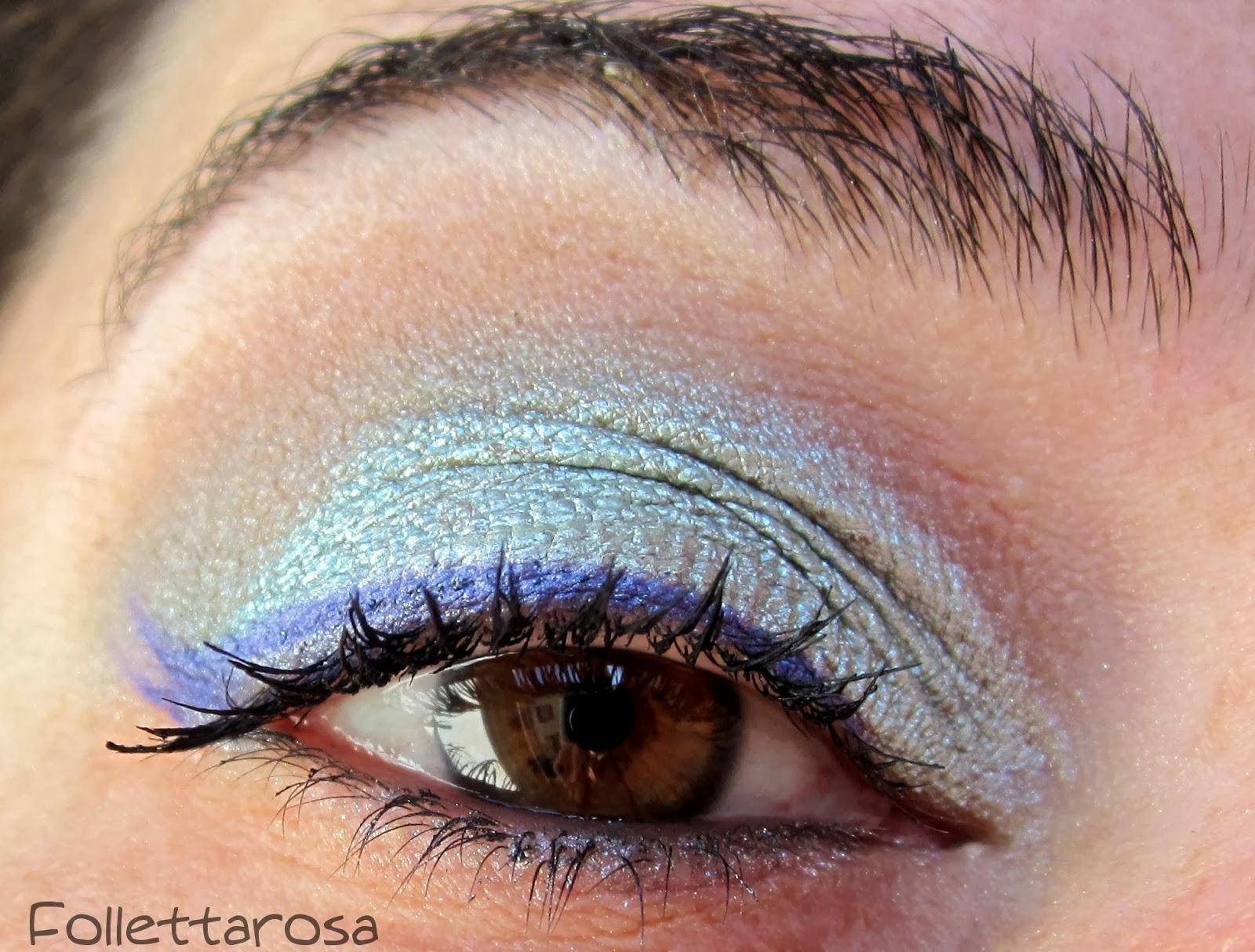 make up occhi marroni eyeliner colorato