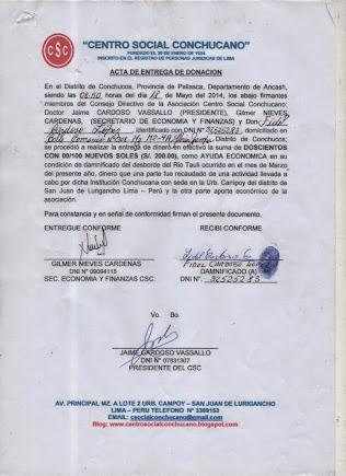 ACTA ENTREGA A FIDEL CARDOSO LOPEZ