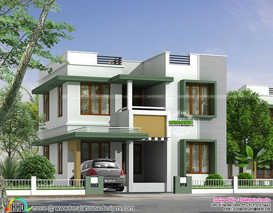 Simple flat roof house in Kerala