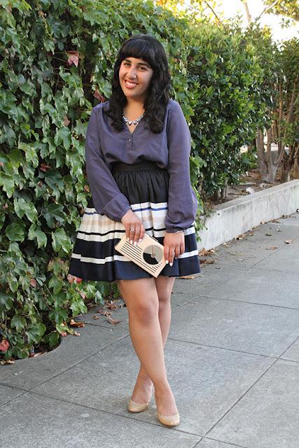BCBG Generation Top and Kate Spade Stripe Cupcake Skirt