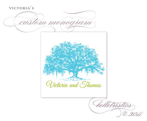 custom wedding monogram design live oak spanish moss