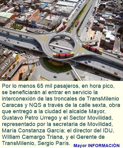BOGOTÁ: Conexión de troncales Caracas y NQS, realidad que beneficiará a 65.000 pasajeros hora