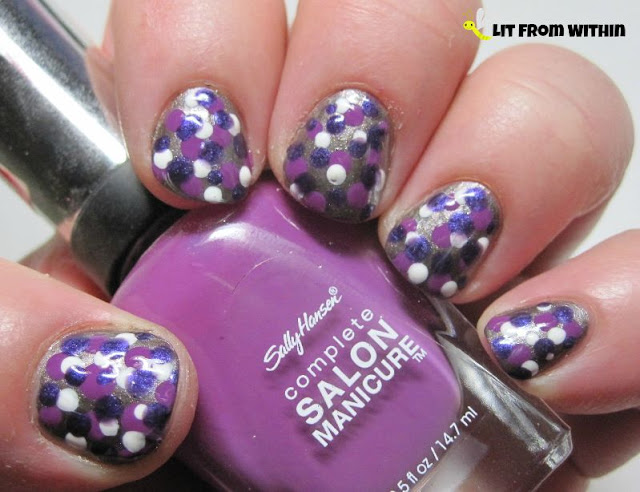 Purple dotticure with Sally Hansen Tyin' The Knot, Sally Hansen Salon Purple Pulse, Purple Posy, and also a white polish
