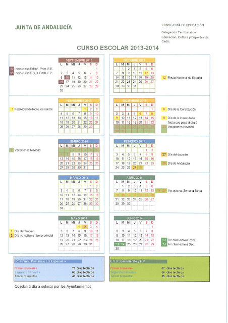 Calendario escolar 14/15