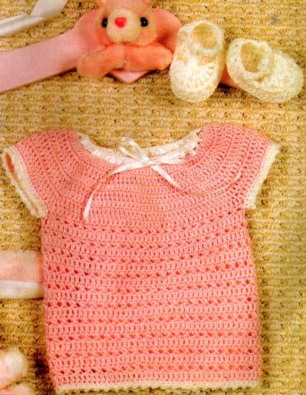 tejidos artesanales en crochet: batita rosa y escarpines para bebe ...