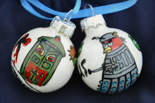Handpainted Who Ornaments: Zombie TARDIS & Angry Bird Dalek