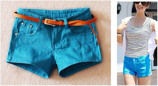 candy color blue short