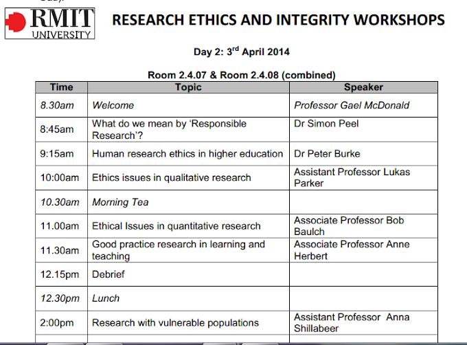 """Mời tham gia Hội thảo chuyên đề """"Research Ethics and Intergrity"""" do TS. Simon Peel và TS. Peter Burke trình bày tại Đại học RMIT"""
