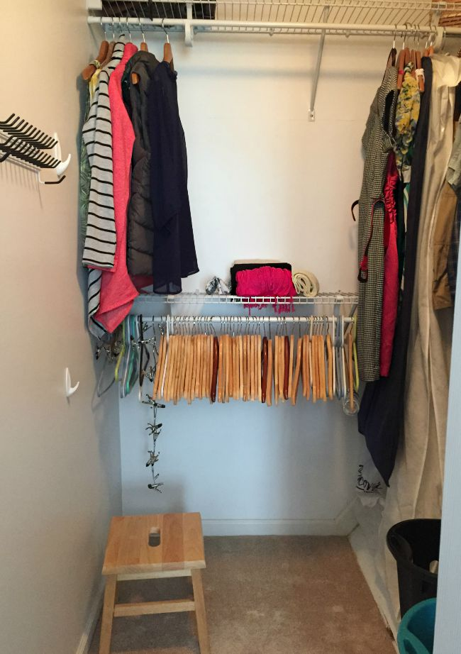 Closet After KonMari decluttering of clothing. So much room. And only clothes that need to be hung. The rest are folded in the drawers.