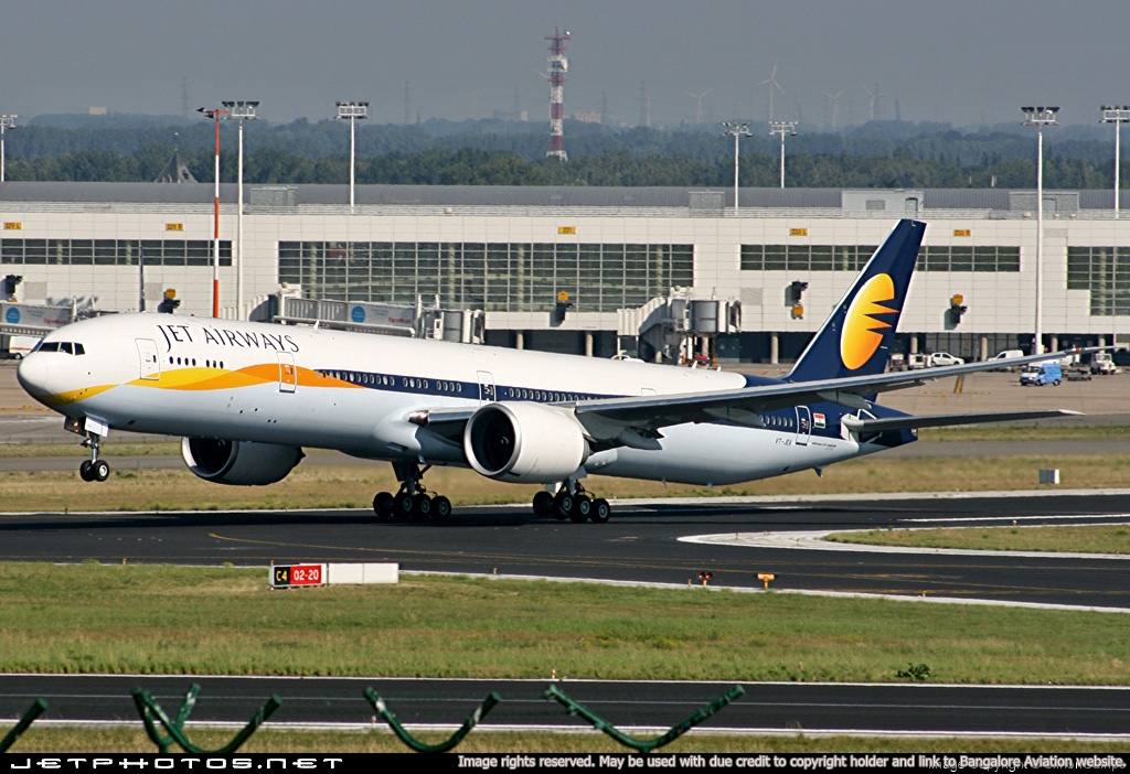 Jet Airways Boeing 777-300ER takes off at Brussels Airport