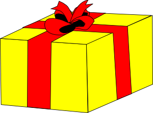 Yellow gift clipart with red ribbons